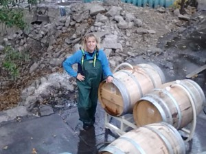 Filling the new barrels with water so the wood would swell, so it would later hold wine.