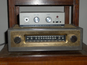 Radio was a kit, assembled in 1950 by my father-in-law. Amplifier assembled by me in 1980.
