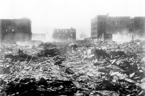 Hiroshima, Japan after dropping atom bomb 1945 – AP Photo/Files